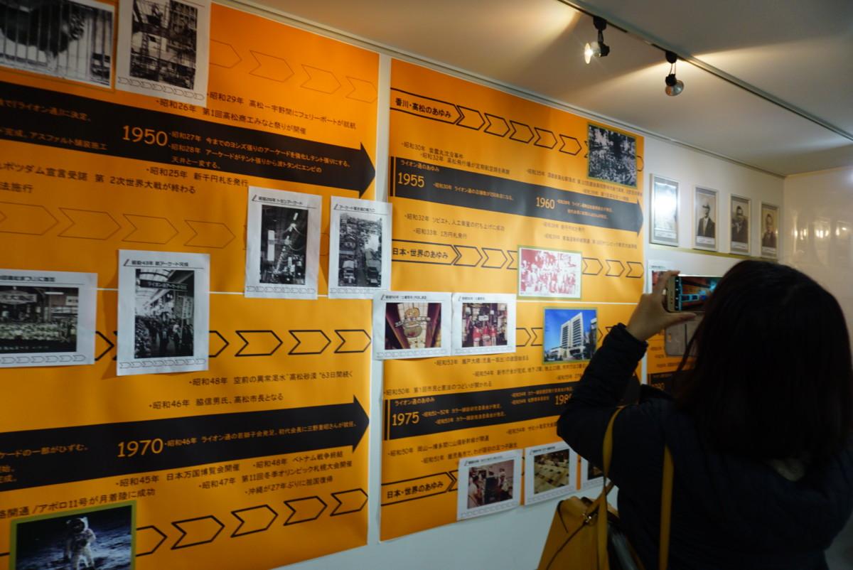 商店街「平成までのあゆみ」を展示しています。